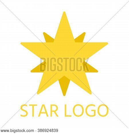 Cartoon Flat Abstract Yellow Star, Closeup Logo Template. Star Shape Corporate Brand Pictogram. Simp