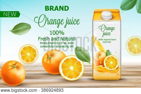 Carton Box With Orange Juice Surrounded By Citruses And Leaves. Fresh And Natural Vitamin From Real