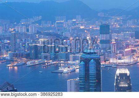 Beautiful Landscape The Victoria Bay In Hong Kong, China 3 June 2007