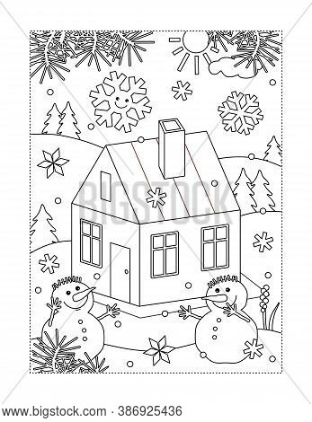 Coloring Page With Small House, Or Cabin, In Winter Scene And Two Snowmen