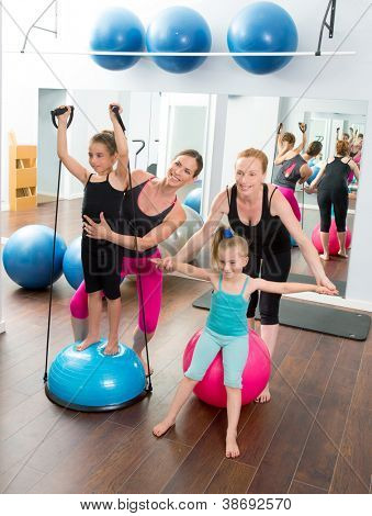 Aerobics pilates women kid girls personal trainer instructors at gym poster