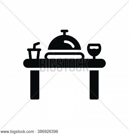 Black Solid Icon For Dinner Edible Table Banquet Party Restaurant Catering Eatery Food