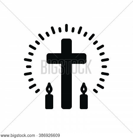 Black Solid Icon For Christian Pious Religious Cross Faith Mythology Belief Bible Catholic Christ Ch