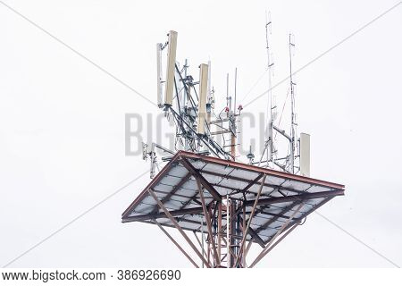 Telecommunication Tower Of 4g And 5g Cellular. Base Station Or Base Transceiver Station. Wireless Co