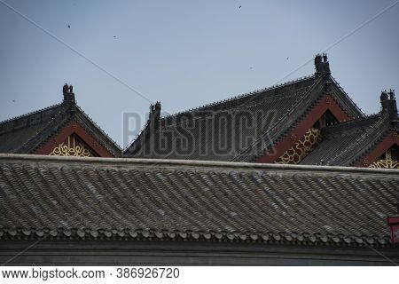 Overlapping Roof Ridges And Eaves Of Tianjin's Large-scale Chinese Antique Buildings