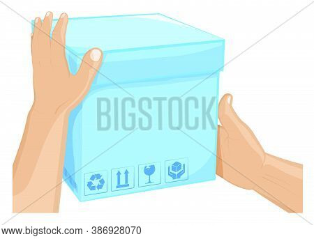 Mens Hands Hold Box With Barcode And Cargo Storage Signs. Shipping And Home Delivery. Gifts And Surp