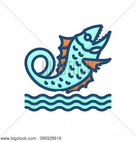 Color Illustration Icon For Leviathan Ancient Underwater Fish Aquatic Marine Sea Monster