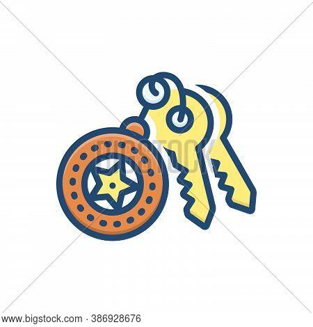 Color Illustration Icon For Keyholder Safety Key Ring
