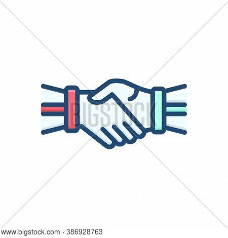 Color Illustration Icon For Hand-shake Hand Shake Join-hands Corporate Team