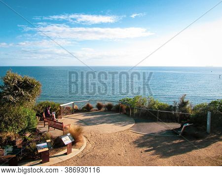 Sandringham, Au - 7 Sept 2018: Beach Lookout Point Viewed From The Rotunda. Sandringham Is An Afflue