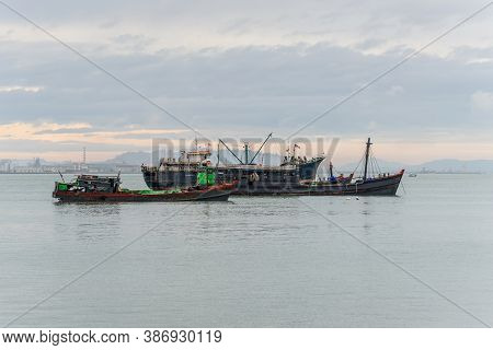 George Town, Penang, Malaysia - December 1, 2019: Harbor View With With Anchored Ships From One Of T