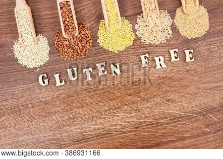 Inscription Gluten Free With Groats, Amaranth, Brown Rice And Quinoa Seeds, Concept Of Healthy Food