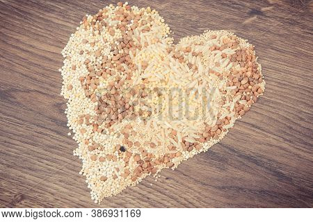 Vintage Photo, Heart Shaped Groats, Amaranth, Brown Rice And Quinoa Seeds, Concept Of Healthy, Glute