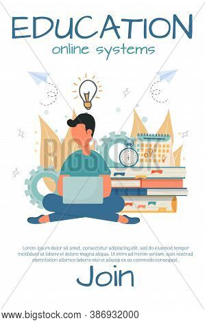 Banner For Online Courses, E-learning, Education Stock Vector Illustration. Student Sitting With Lap