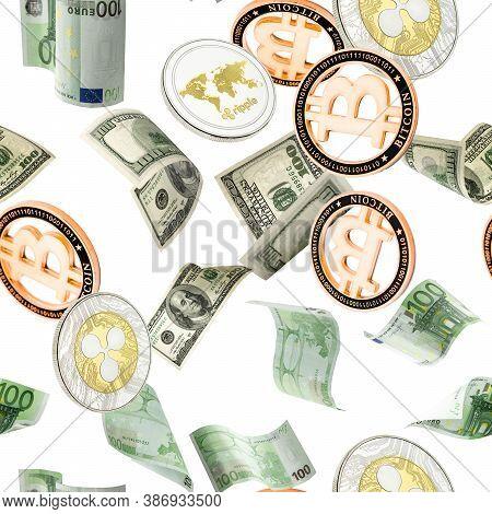 Money Seamless Pattern Background. Hundred Dollar, Bitcoin, Euro Business Money Falling. Usd Bill Ca