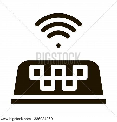Presence Of Wi-fi In Taxi Online Taxi Icon Vector . Contour Illustration
