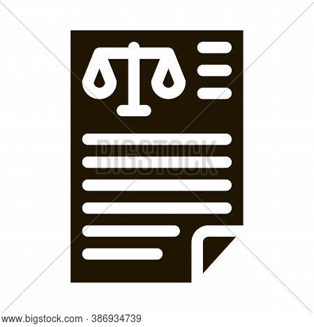 Judicial Document Law And Judgement Icon Vector . Contour Illustration