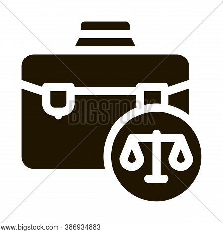 Suitcase Law And Judgement Icon Vector . Contour Illustration