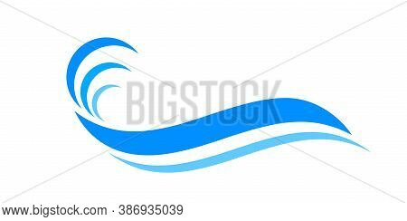 Water Waves Blue Symbol, Water Ripples Light Blue, Ocean Sea Surface Symbol, Aqua Flowing Graphic