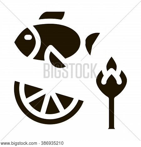 Nutrients Of Fish And Fruit Biohacking Icon Vector . Contour Illustration