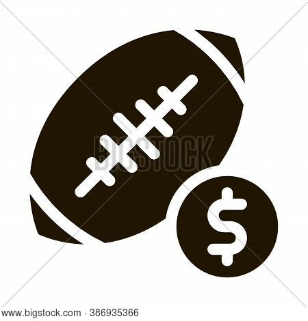 Rugby Ball Betting And Gambling Icon Vector . Contour Illustration