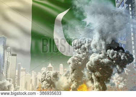 Huge Smoke Column With Fire In Abstract City - Concept Of Industrial Catastrophe Or Terroristic Act