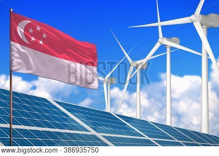 Singapore Solar And Wind Energy, Renewable Energy Concept With Windmills - Renewable Energy Against