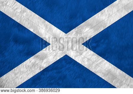 Towel Fabric Pattern Flag Of Scotland, Crease Of Scotland Flag Background, It Is A Blue Field With A