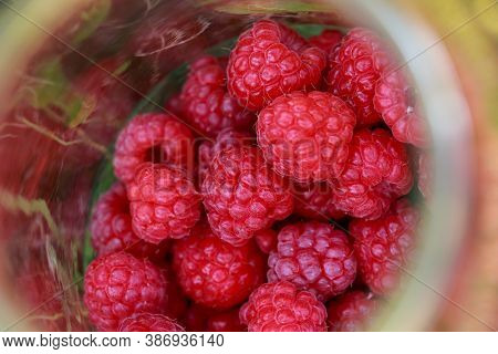 Big Beautiful Ripe Raspberries In A Jar Close Up