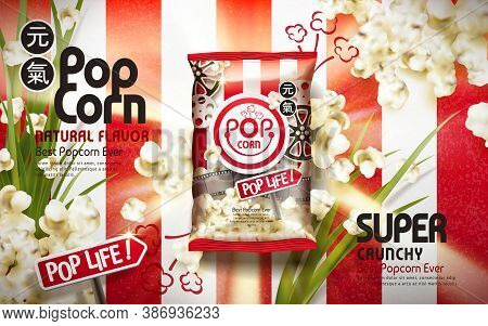 Crunchy Popcorn Ads, With Scallion Elements Isolated On White And Red Stripes Background, 3d Illustr