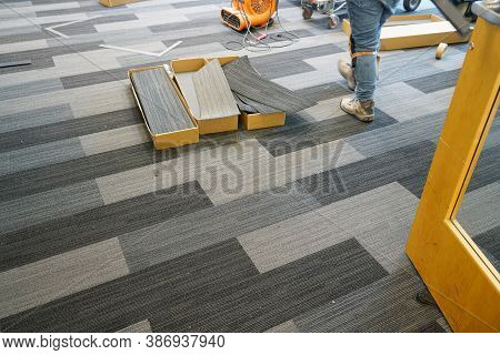 Carpet Installed In The Office Building Indoor