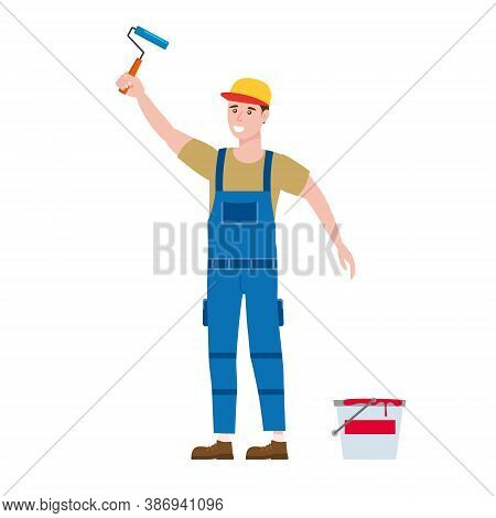 Construction Worker Painter With Brush And Paint Bucket In Workwear. Craftsman Character Vector Isol