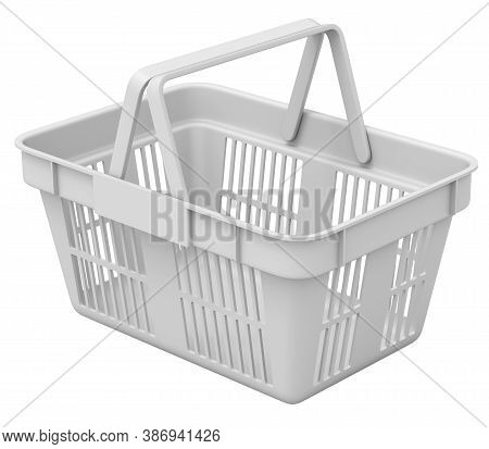 Clay Render Of Shopping Basket Isolated On White Background - 3d Illustration