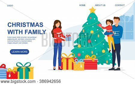 New Year And Christmas Celebration Concept. Happy Young Caucasian Family Mother Father And Little Gi