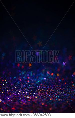 Festive Bokeh Lights Background, Abstract Shiny Backdrop With Stars, Modern Design Wallpaper With Sp