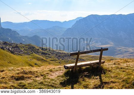 View On Valley Nature Landscape. Mountain Layers Landscape. Sunny Day In Mountain Landscape. Valley