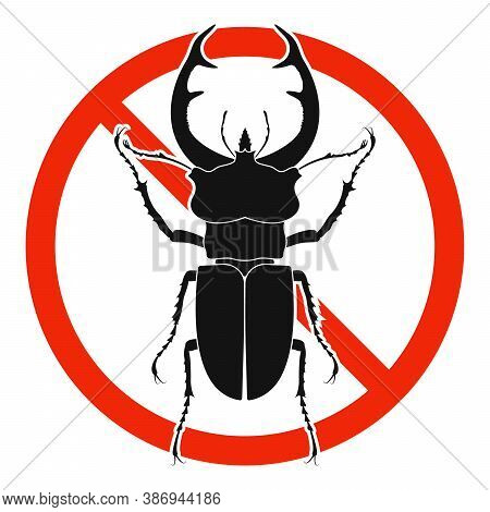 The Stag Beetle With Red Ban Sign. Stop Stag Beetle Beetle Sign Isolated. Forbid Stag Beetle Icon. V