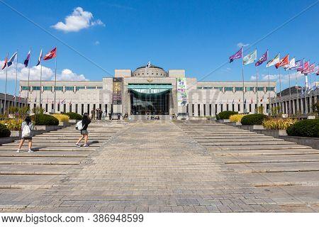 Seoul, South Korea - October 19th 2017: The Steps At The Entrance At The War Memorial Of Korea Museu