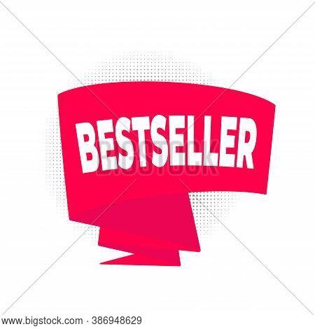 Bestseller Big Red Retro Ribbon Flat Style Design Vector Illustration Isolated On White Background.