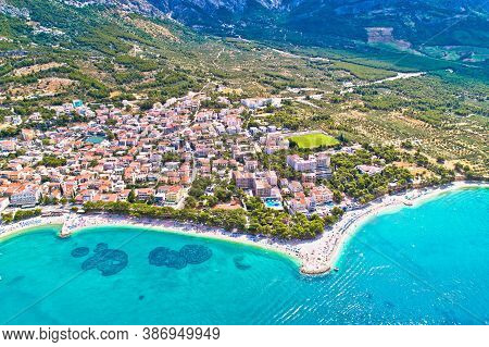 Baska Voda Beach And Waterfront Aerial View, Makarska Riviera In Dalmatia, Croatia