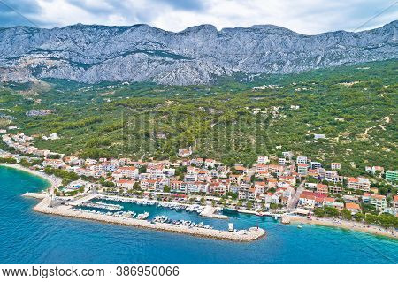 Tucepi Aerial View Of Town Of Tucepi On Makarska Riviera. Dalmatia Region Of Croatia