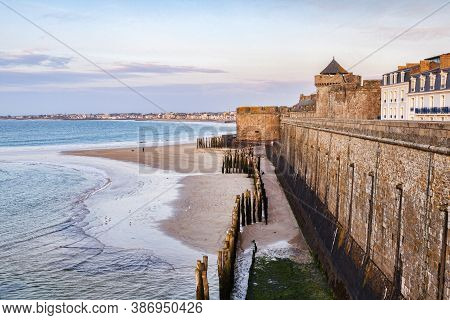 The Ramparts, Sea Defences And Beach Of Saint-malo, Brittany, France.