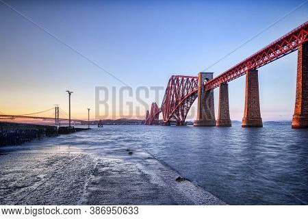 Forth Rail Bridge, Queensferry, Edinburgh, East Lothian, Scotland, Uk, One Of The Most Famous Bridge