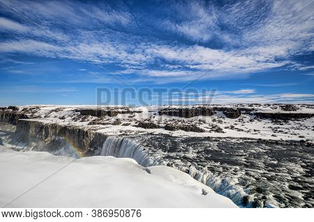 Dettifoss Waterfall On The Jokulsa A Fjollum River In Northern Iceland, The Most Powerful Fall In Eu
