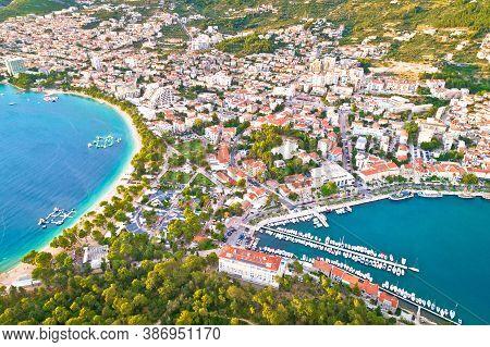 Makarska. Tourist City Of Makarska Waterfront Aerial View, Dalmatia Archipelago Of Croatia