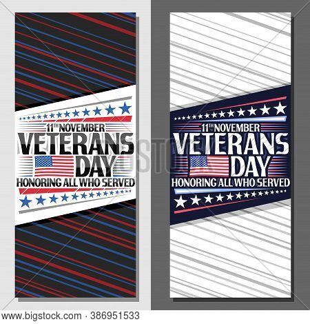 Vector Layouts For Veterans Day, Decorative Leaflet With Illustration Of National Red And Blue Strip