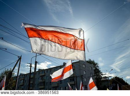 Minsk, Belarus - September 13, 2020: Belarusian People Participate In Peaceful Protest After Preside