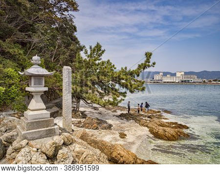 27 March 2019: Gamagori, Japan - The Shore Of The Island Of Takeshima, Off Gamagori.