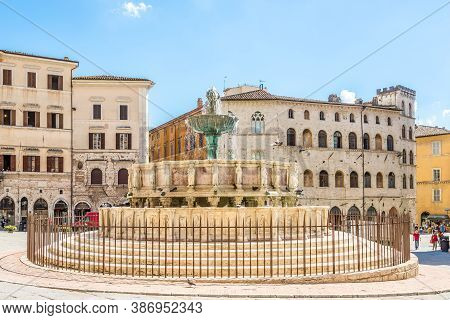 Perugia,italy - September 3,2020 - View At The Iv.november Place With Maggiore Fountain In Perugia.