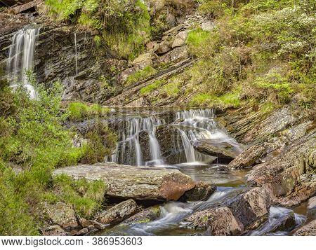 Rhiwargor Waterfall Or Pistyll Rhyd-y-meincau On The River Eiddew Above Lake Vyrnwy, Powys, Wales, U